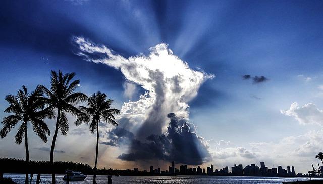 Sun shining through clouds in Miami